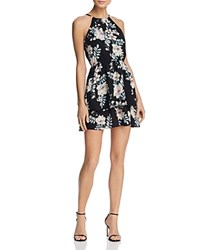 Aqua Tiered Floral Print Fit And Flare Dress 100 Exclusive Black Blush