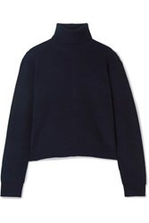Theory Ribbed Cashmere Turtleneck Sweater Navy