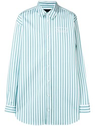Martine Rose Logo Embroidered Candy Stripe Shirt Green