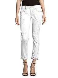 Miss Me Distressed Embellished Pants White