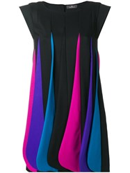 Capucci Layered Colour Dress Women Virgin Wool Silk Spandex Elastane Polyester 44 Black