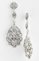 Nina 'Eiffel' Statement Drop Earrings Antique Silver Clear Crystal