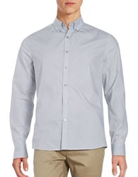 Kenneth Cole Diagonal Print Cotton Shirt White Combo