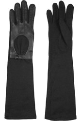 Agnelle Leather Paneled Wool Blend Gloves Black