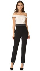 Cynthia Rowley Off Shoulder Jumpsuit Ivory Black