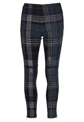 Religion Cascade Trousers Checker Print Dark Blue