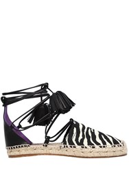 Dsquared 20Mm Animalier And Leather Espadrilles Black White