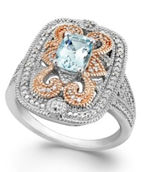 Macy's Aquamarine 5 8 Ct. T.W. And Diamond 1 10 Ct. T.W. Ring In Sterling Silver And 14K Rose Gold No Color