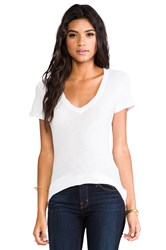 James Perse Casual V Neck Tee With Reverse Binding White