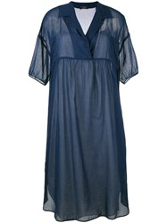 Odeeh Lapel Shift Dress Women Cotton 34 Blue