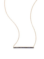 Diane Kordas Diamond Sapphire And 18K Rose Gold Bar Necklace