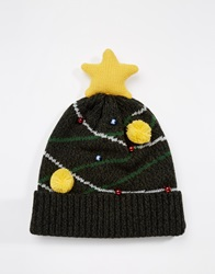 Asos Beanie In Green With Christmas Tree Design