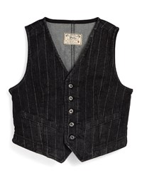Ralph Lauren Striped Denim Vest Blue
