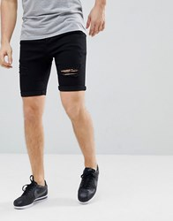 Kings Will Dream Lummer Denim Shorts In Black With Distressing