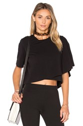 Kendall Kylie Draped Crop Tee Black