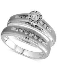 Beautiful Beginnings Diamond Halo Bridal Ring Set In Sterling Silver 1 3 Ct. T.W.
