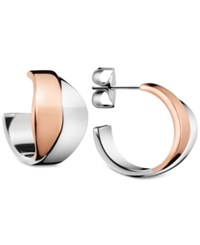 Calvin Klein Women's Senses Two Tone Pvd Stainless Steel Open Hoop Earrings Kj5epe200100 Two Tone