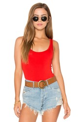 Three Dots Tank Bodysuit Red