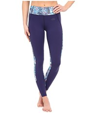 The North Face Motivation Color Block Printed Leggings Patriot Blue Gem Party Print Prior Season Casual Pants Bone