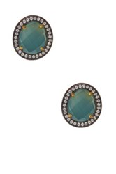 Rivka Friedman 18K Gold Clad Sterling Silver Aqua Chalcedony And White Topaz Stud Earrings Blue