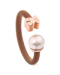 Tous Cultured Freshwater Pearl And Bear Open Ring Rose
