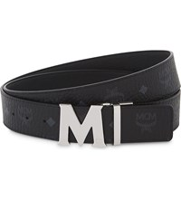 Mcm Logo Leather Belt Black