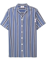 Gcds Striped Boxy Shirt Blue