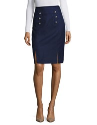 Tahari By Arthur S. Levine Textured Traditional Fit Pencil Skirt Military Navy