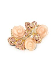 A Z Collection Az Pink Roses Brooch Gold