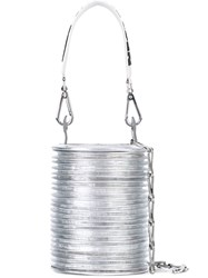Paco Rabanne Ridged Bucket Bag Women Leather One Size Metallic