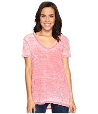 Allen Allen Short Sleeve High Low Tee Begonia Women's T Shirt Pink