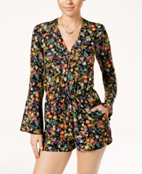 Jessica Simpson Cambrea Printed Bell Sleeve Romper French Cluster