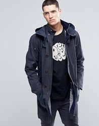 Pretty Green Parka In Waxed Cotton With Two Tone Details Detachable Hood In Navy Navy