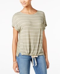 One Hart Juniors' Striped Drawstring Waist T Shirt Only At Macy's Green Combo