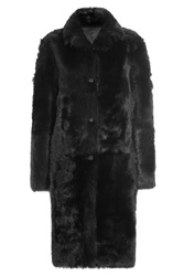 Jil Sander Volterra Shearling And Lamb Leather Coat Black