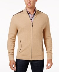 Tasso Elba Men's Textured Knit Full Zip Jacket Created For Macy's Camel Melange