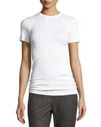 Brunello Cucinelli Ribbed Short Sleeve Tee With Keyhole Detail White