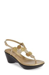 Athena Alexander Women's Lux Demi Wedge Sandal Gold Faux Leather