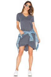 Wilt Slub V Neck Mock Hem Dress Gray