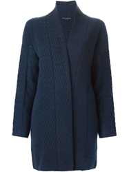 Piazza Sempione Cable Knit Detail Cardi Coat Blue
