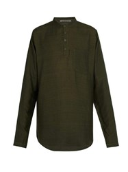 Denis Colomb Raj Silk Tunic Shirt Green