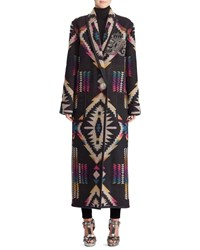 Ralph Lauren Sauville Embellished One Button Tapestry Intarsia Long Coat Multi