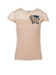 Morgan Flowers Embroidered Lace Top Pink