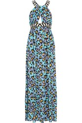 Matthew Williamson Embellished Leopard Print Silk Crepe De Chine Dress Blue