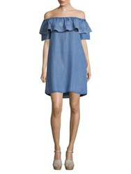 Context Off The Shoulder Embroidered Sheath Dress Blue
