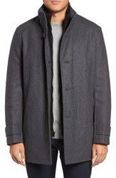 Marc New York Men's Big And Tall By Andrew Stafford Pressed Wool Blend Car Coat With Inset Bib Charcoal