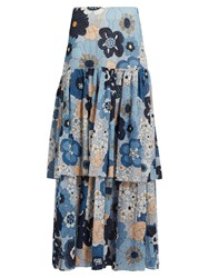 Chloe Tiered Floral Print Maxi Skirt