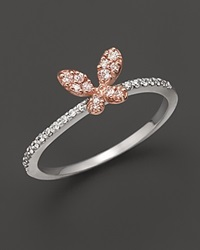 Bloomingdale's Diamond Butterfly Ring Set In 14K Rose And White Gold 0.20 Ct. No Color