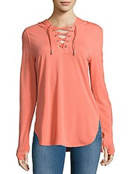 Nanette Lepore Lace Up Hooded Shirt Living Coral