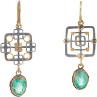 Judy Geib Women's Emerald Gold And Silver Double Drop Earrings No Color